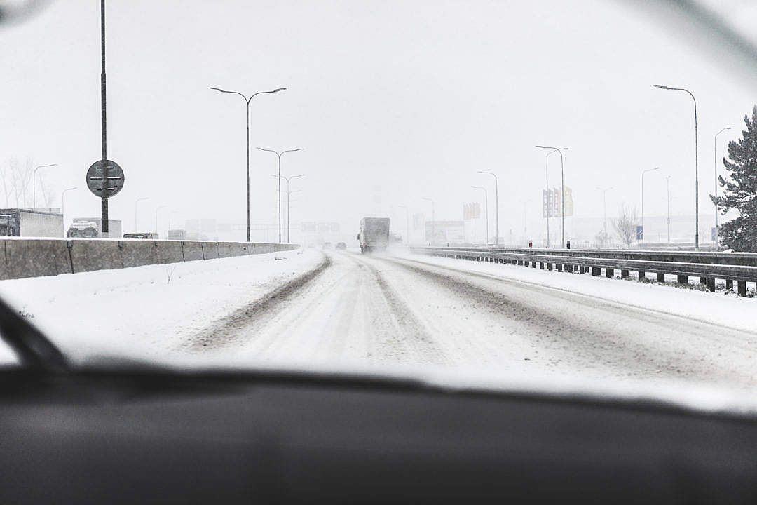 Download Snow Calamity on Highway FREE Stock Photo