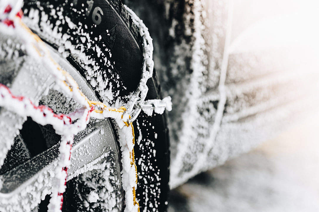 Download Snow Chains in Winter FREE Stock Photo