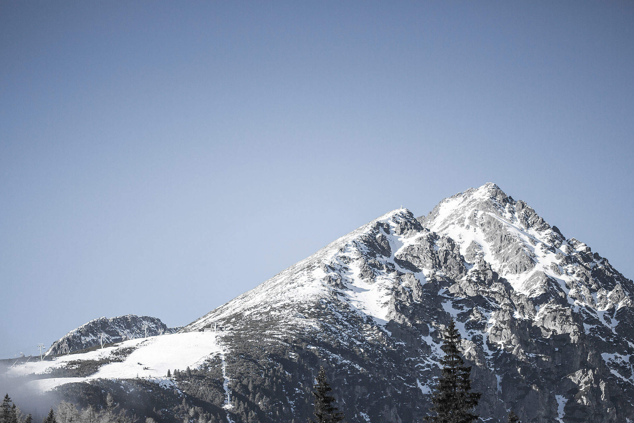 Snowy Mountain with Blue Cloudless Sky Free Stock Photo