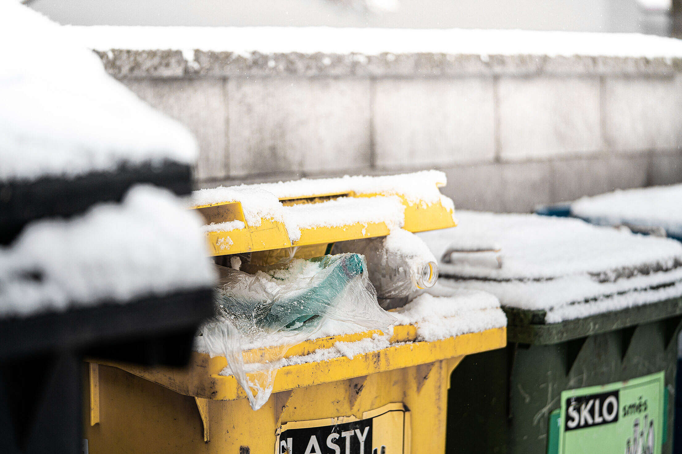 Snowy Trash Cans Free Stock Photo