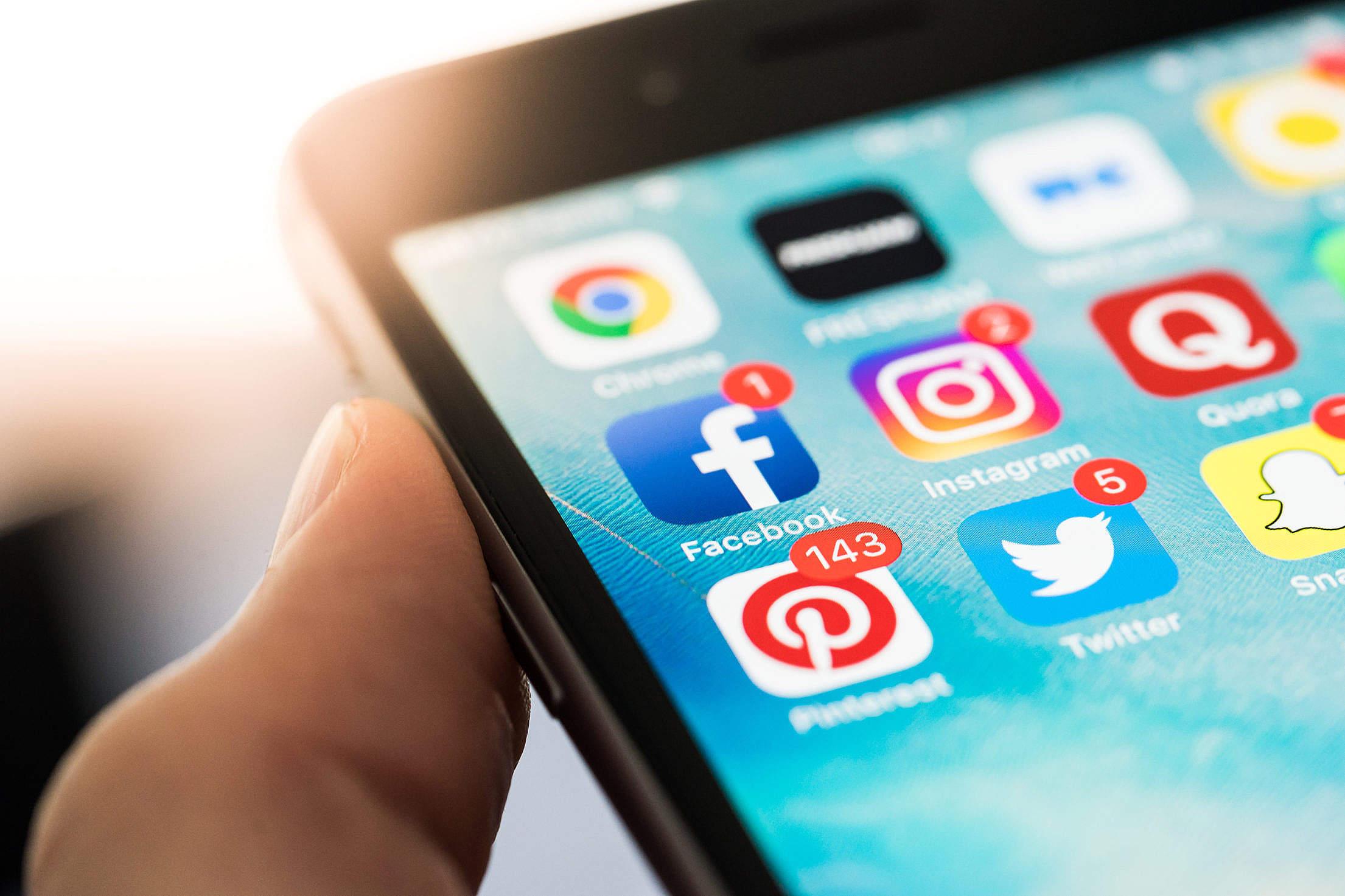 Social Media App Icons on Smartphone Free Stock Photo