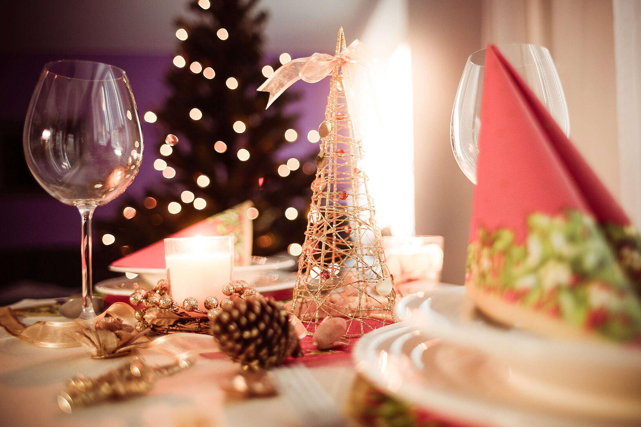 Soft Christmas Table Setting Free Stock Photo