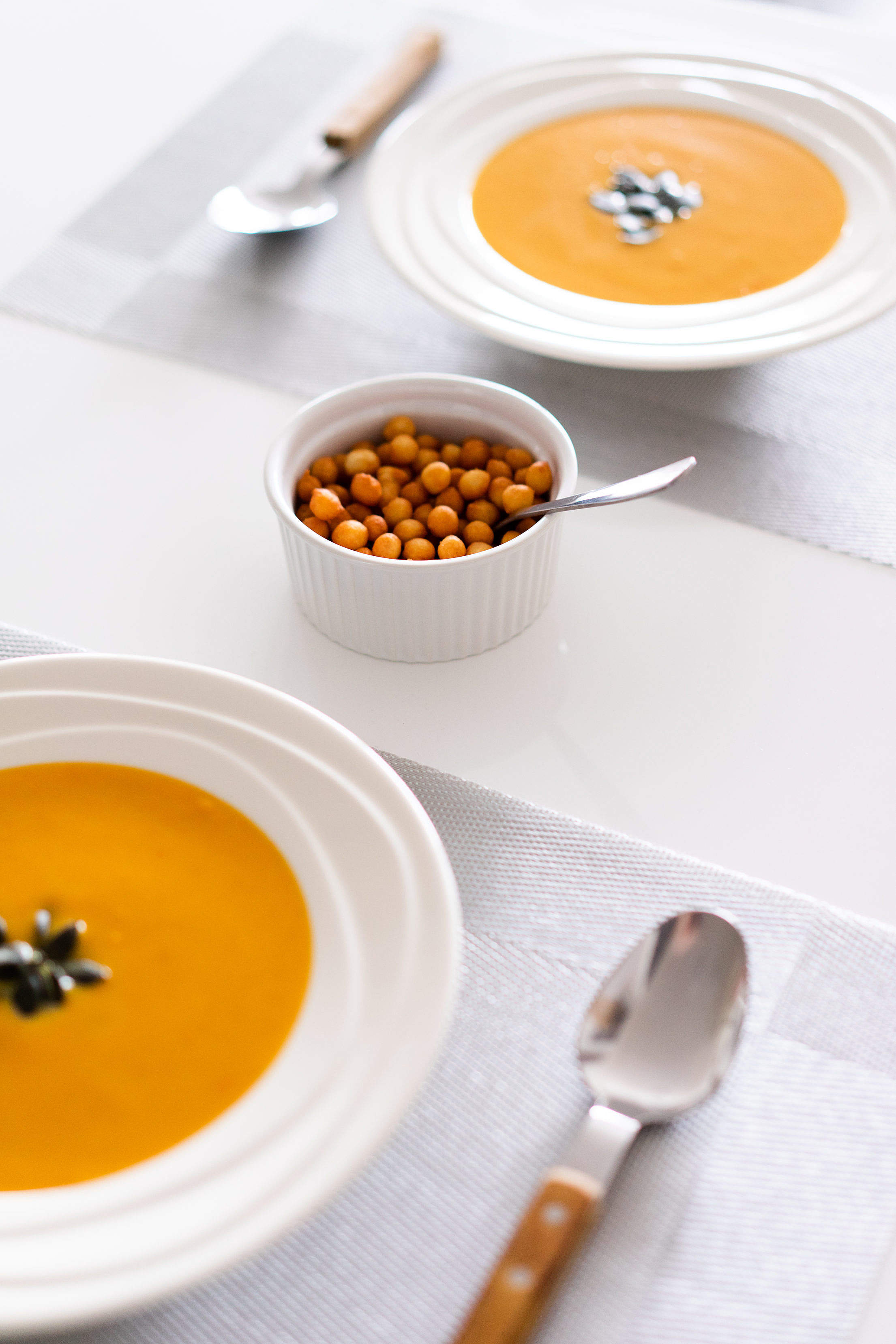 Soup and Croutons Free Stock Photo