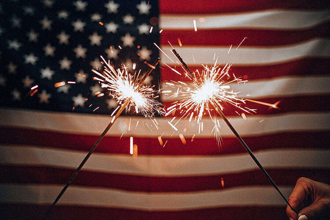 Download Sparklers and American Flag FREE Stock Photo