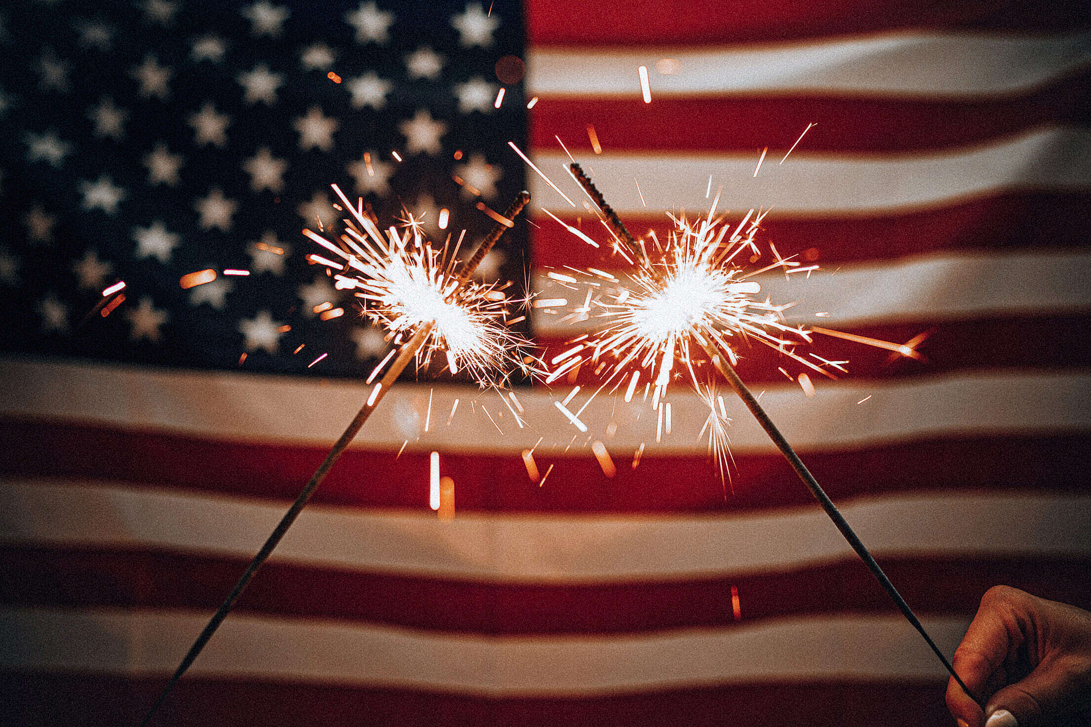 Sparklers and American Flag Free Stock Photo