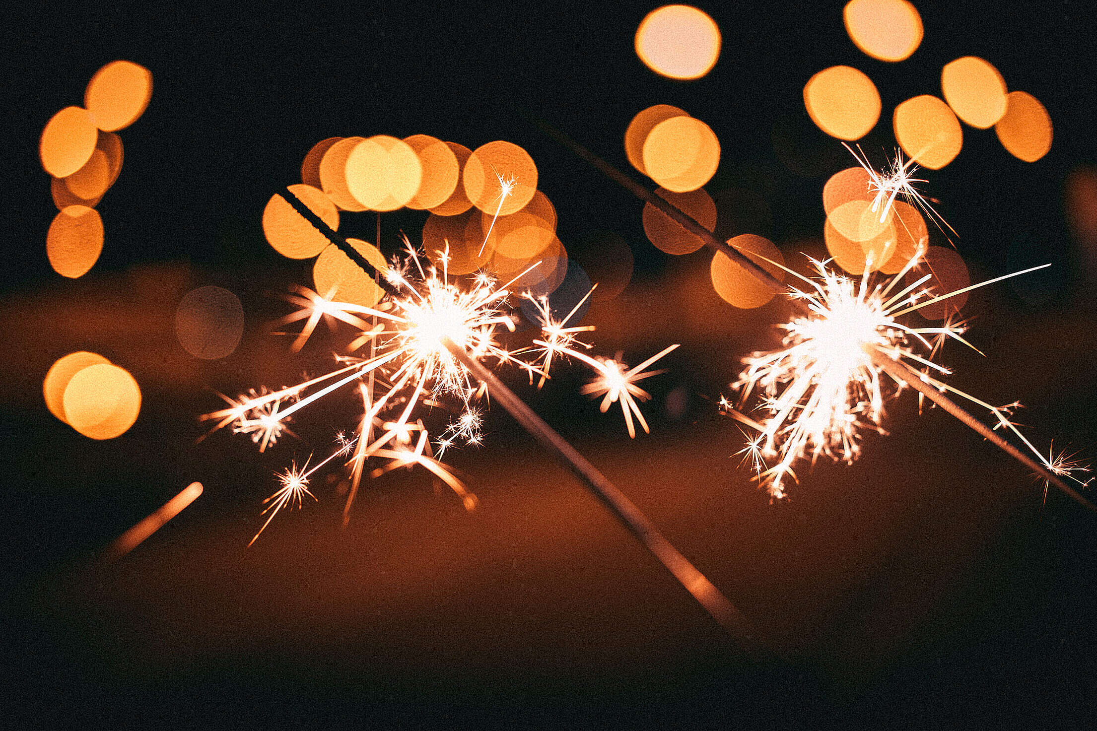 Sparklers Happy New Year Party Free Stock Photo