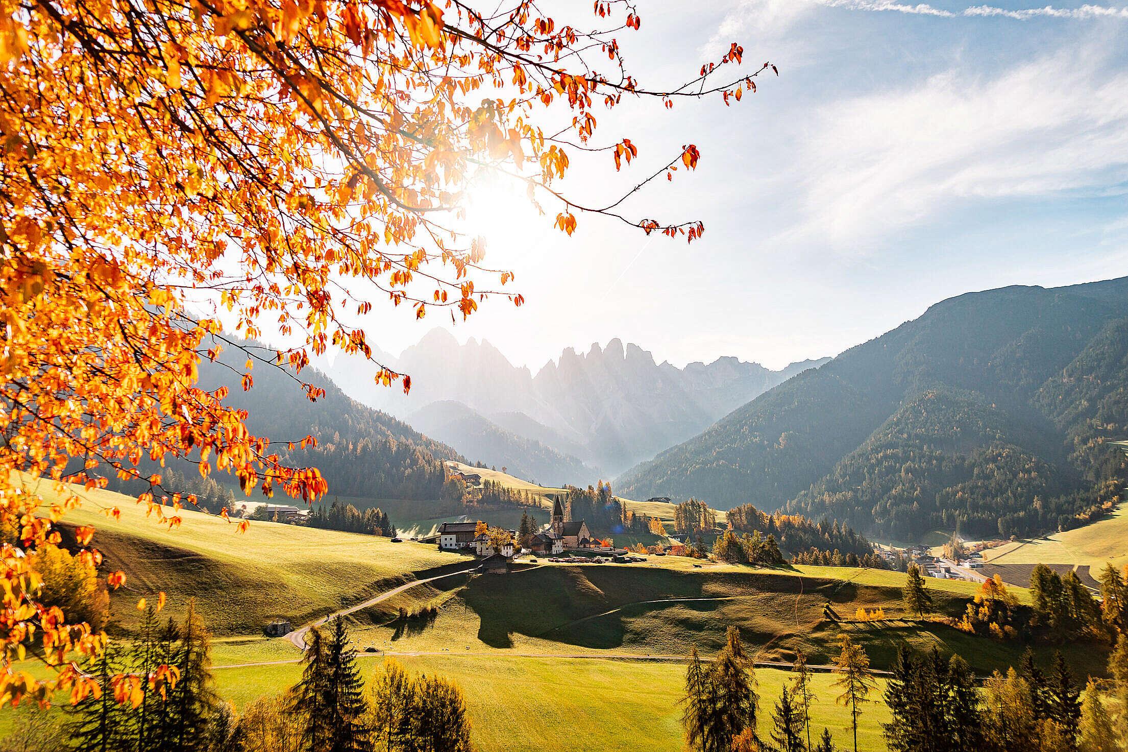 Spectacular Autumn Mountain View, Dolomites Italy Free Stock Photo