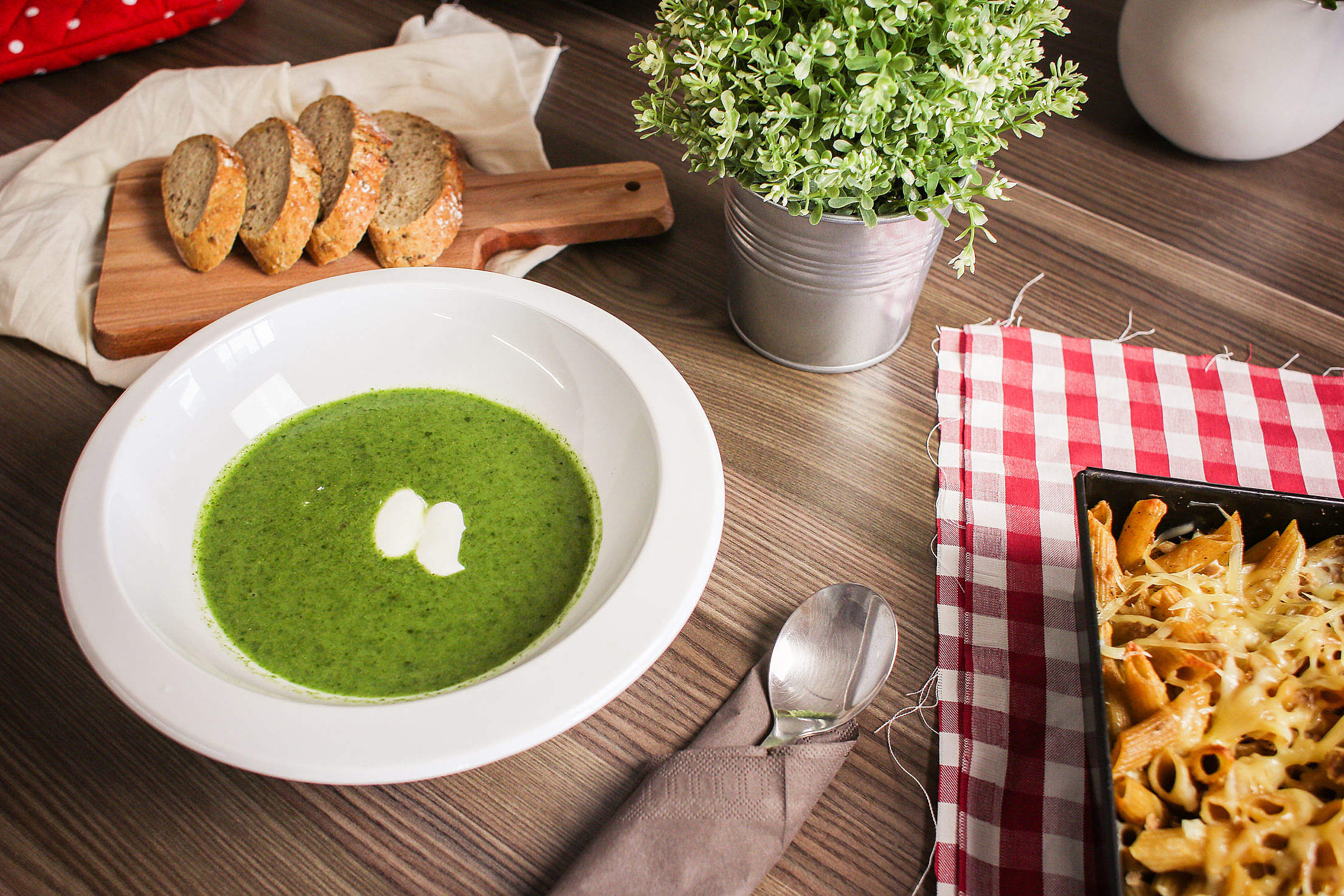 Spinach Soup with Slices of Bread Free Stock Photo