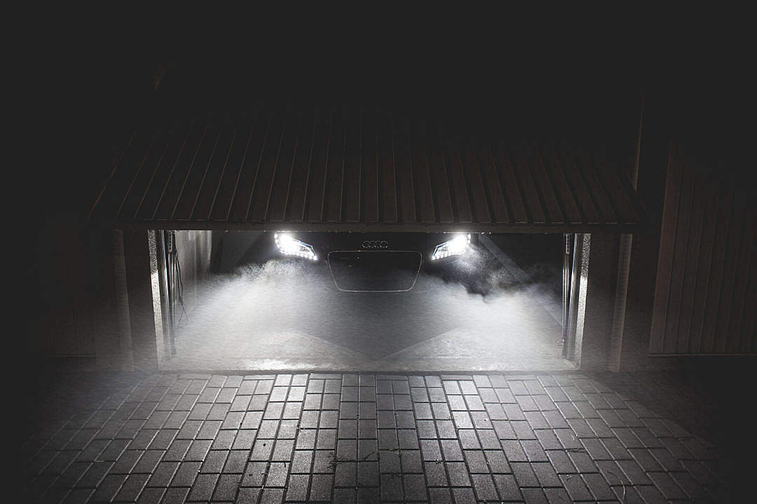 Download Sportcar Waiting in Garage at Night FREE Stock Photo