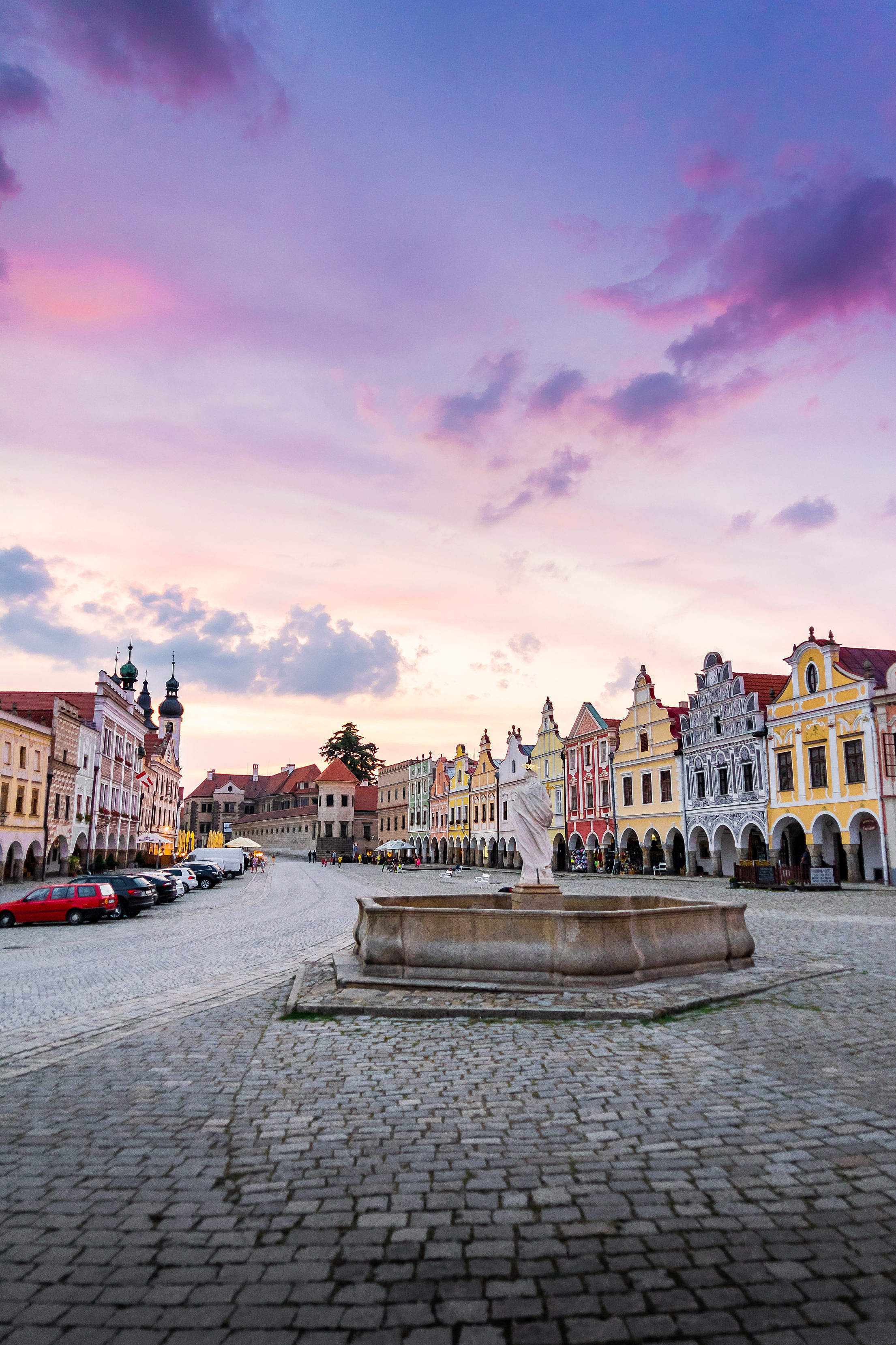 Square with a Fountain in Telč, Czech Republic Free Stock Photo