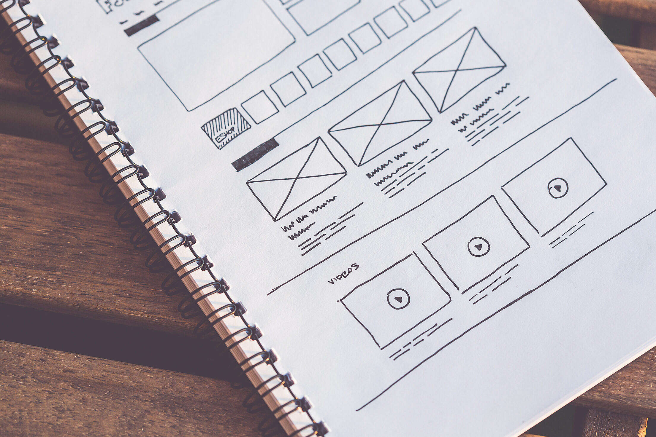 Startup Website Layout Wireframes Ideas Sketched on Paper Free Stock Photo