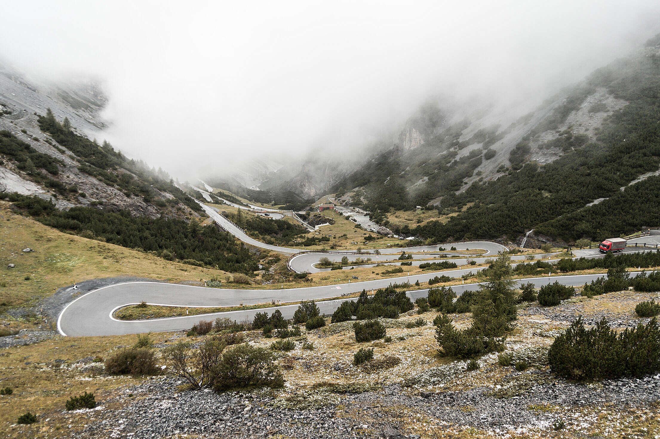 Stelvio Pass Hairpin Turns Mountain Road Italy Free Stock Photo