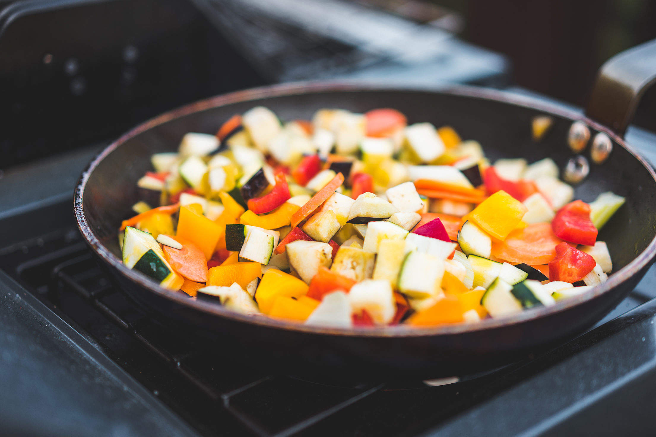 Stir Fried Vegetables in The Pan Free Stock Photo