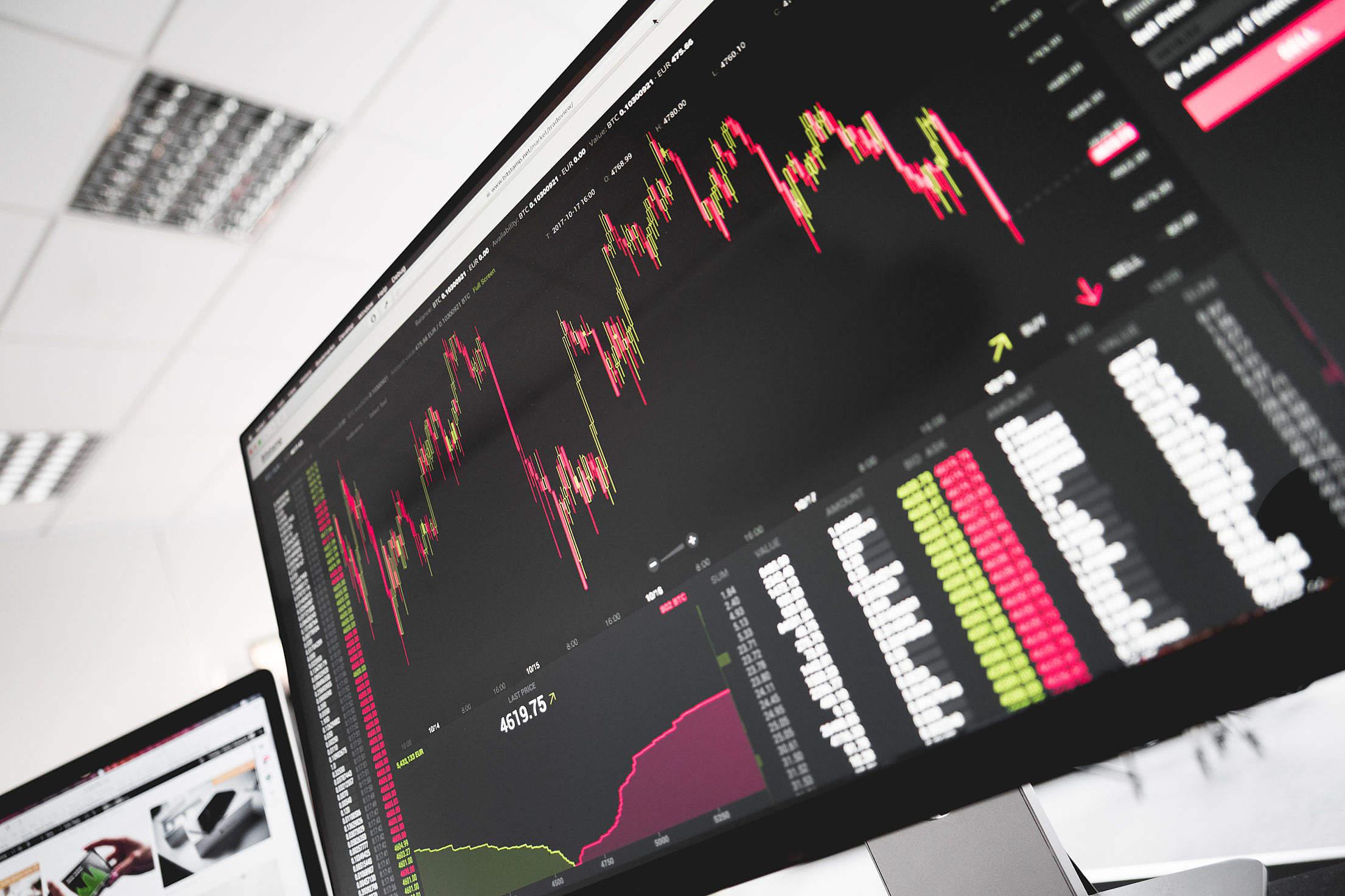 Stock Exchange Office Bitcoin BTC Live Price Chart Free Stock Photo