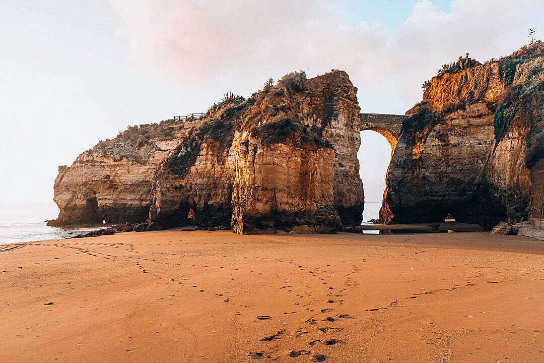 Download Stoney Bridge Between Cliffs in Portugal FREE Stock Photo