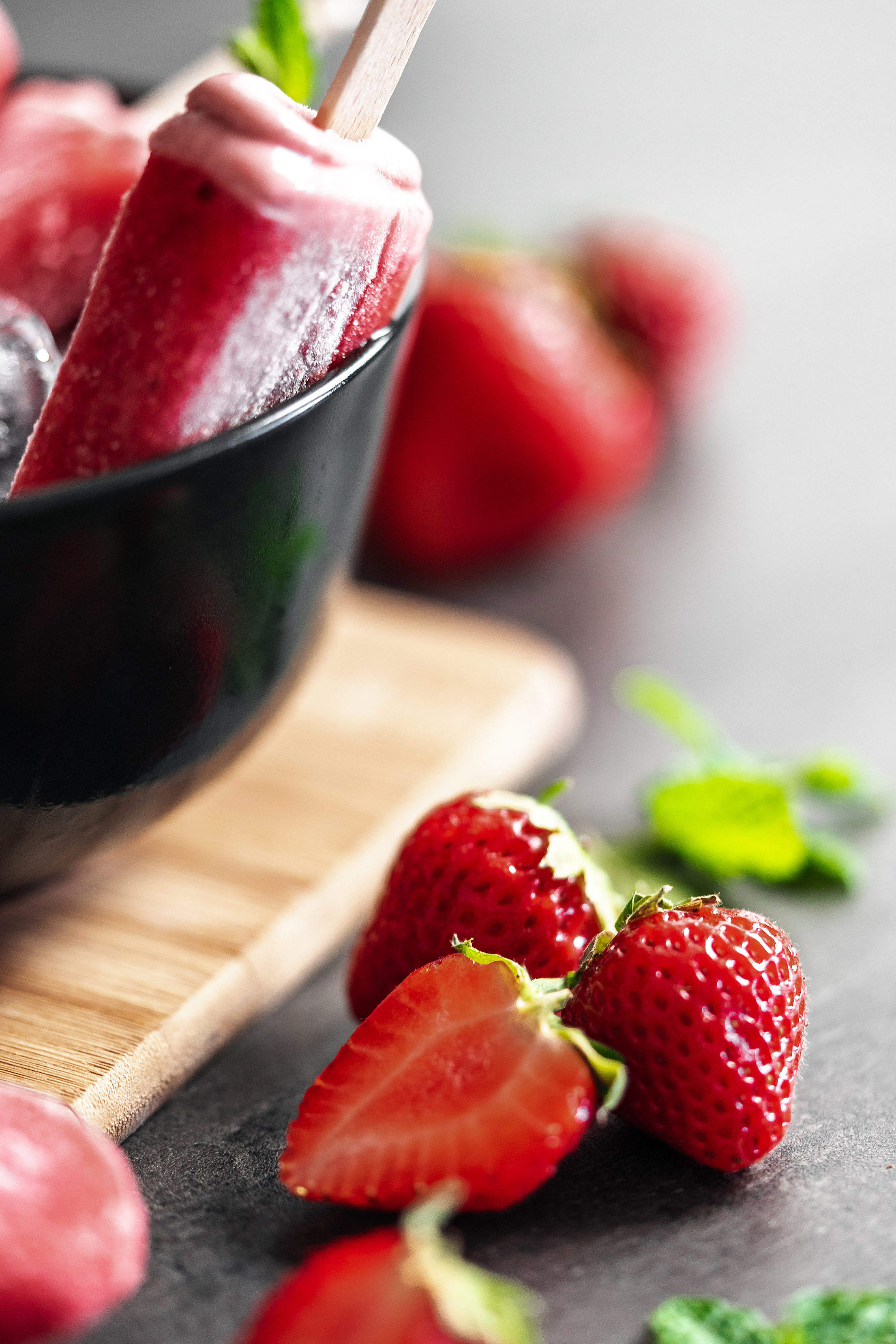 Strawberries and Homemade Ice Lolly Free Stock Photo