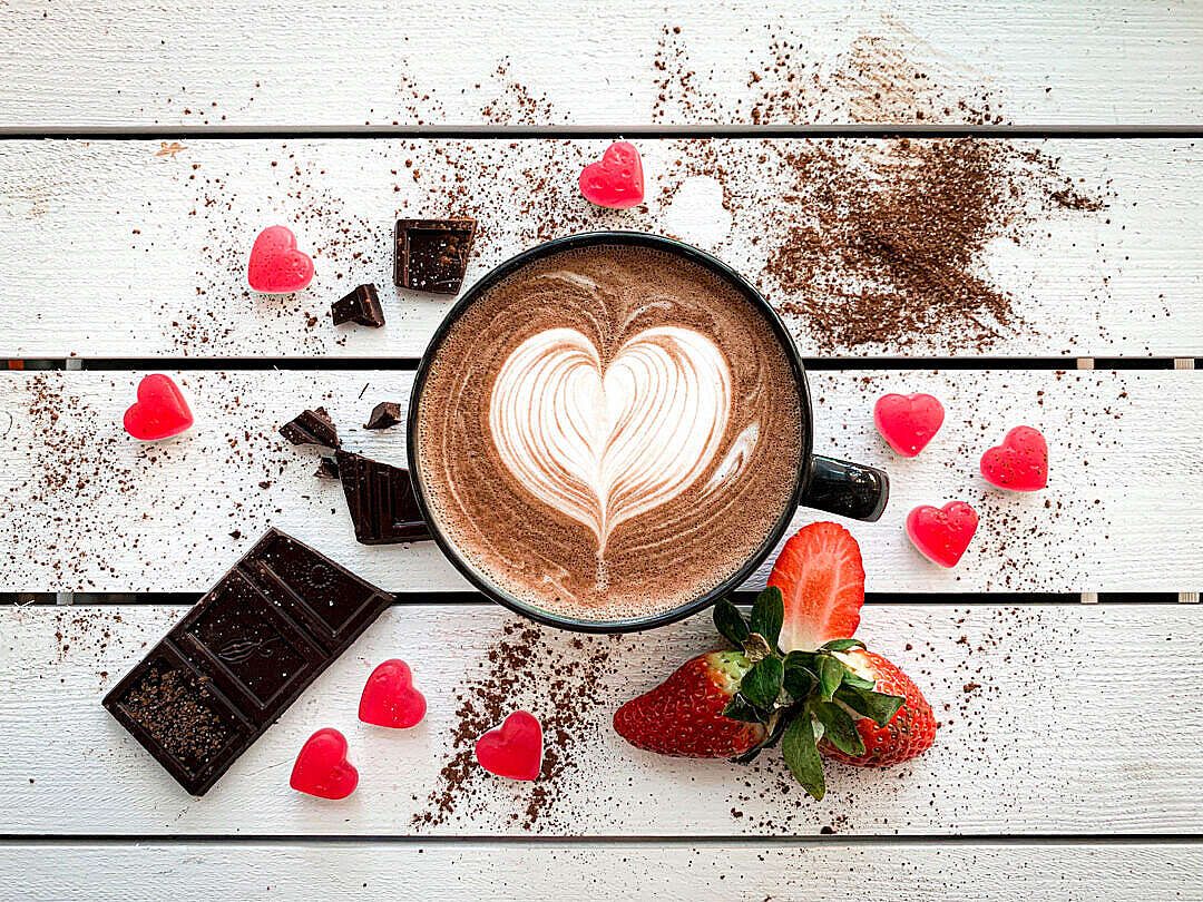 Download Strawberry Caffè Mocha with Latte Art FREE Stock Photo