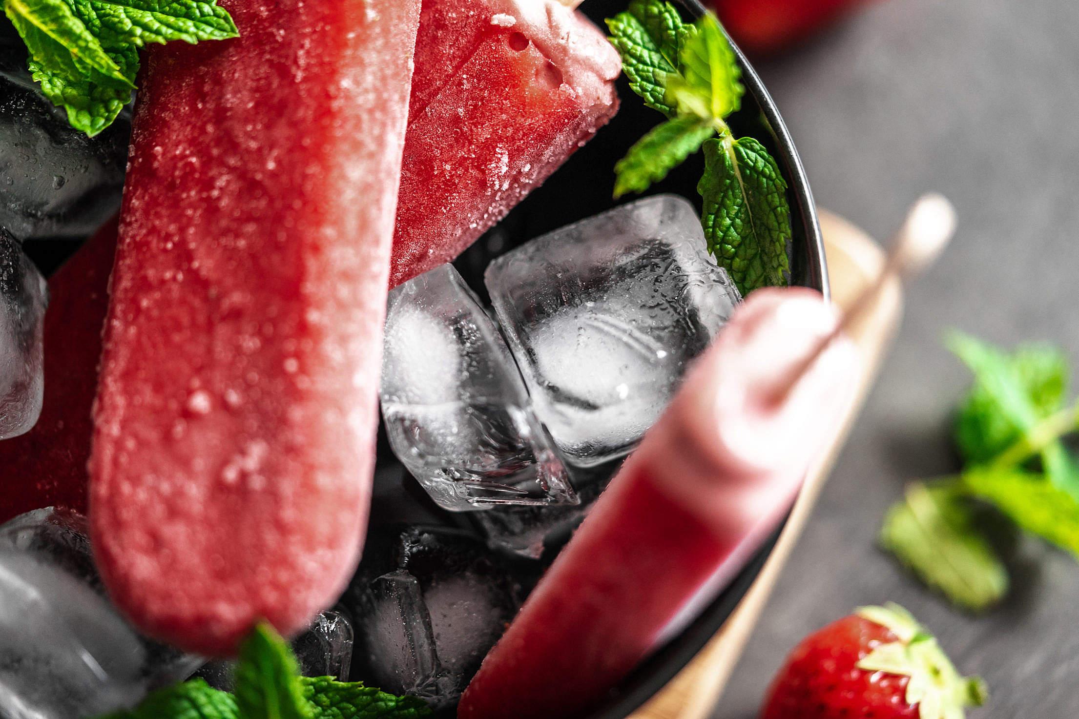 Strawberry Ice Lollies with Ice Free Stock Photo