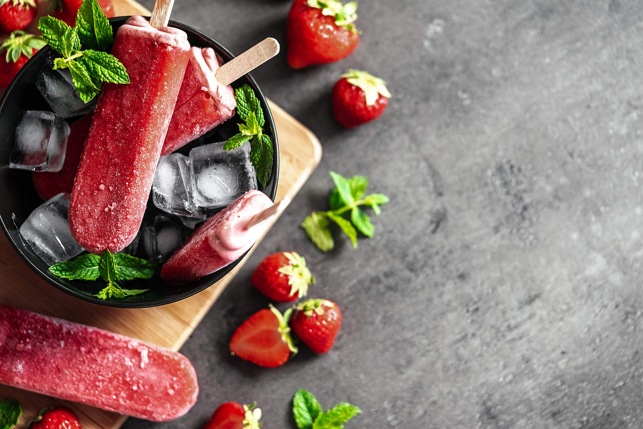 Strawberry Popsicles Flat Lay with a Space for Text Free Stock Photo