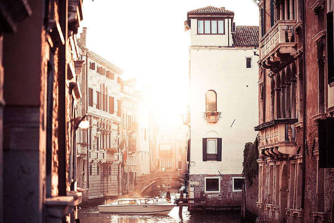Download Street Canal Sunset in Venice, Italy FREE Stock Photo