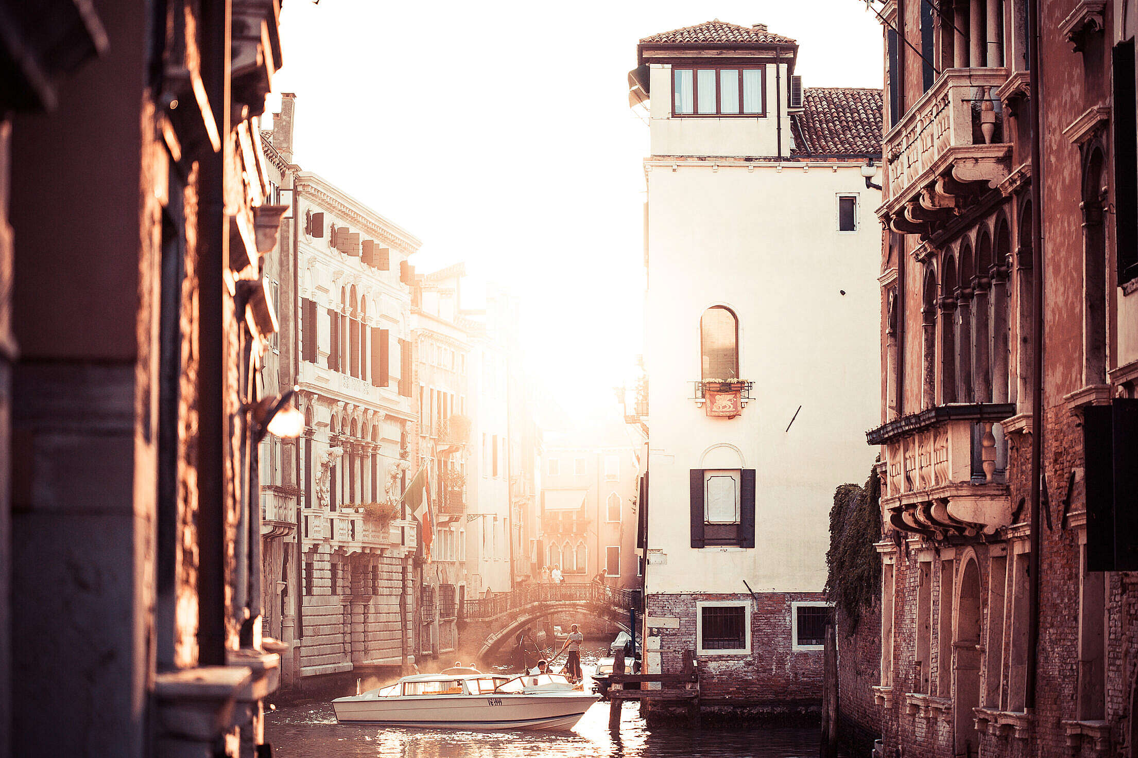 Street Canal Sunset in Venice, Italy Free Stock Photo