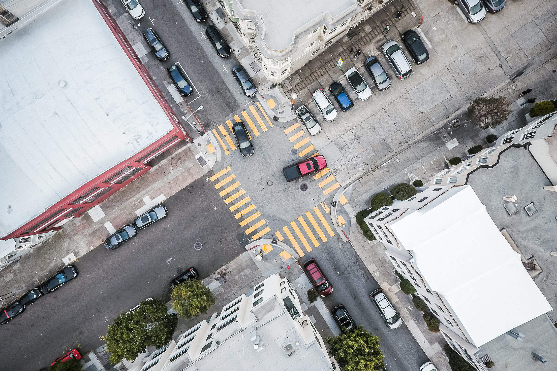Street Road Intersection From Above Free Stock Photo