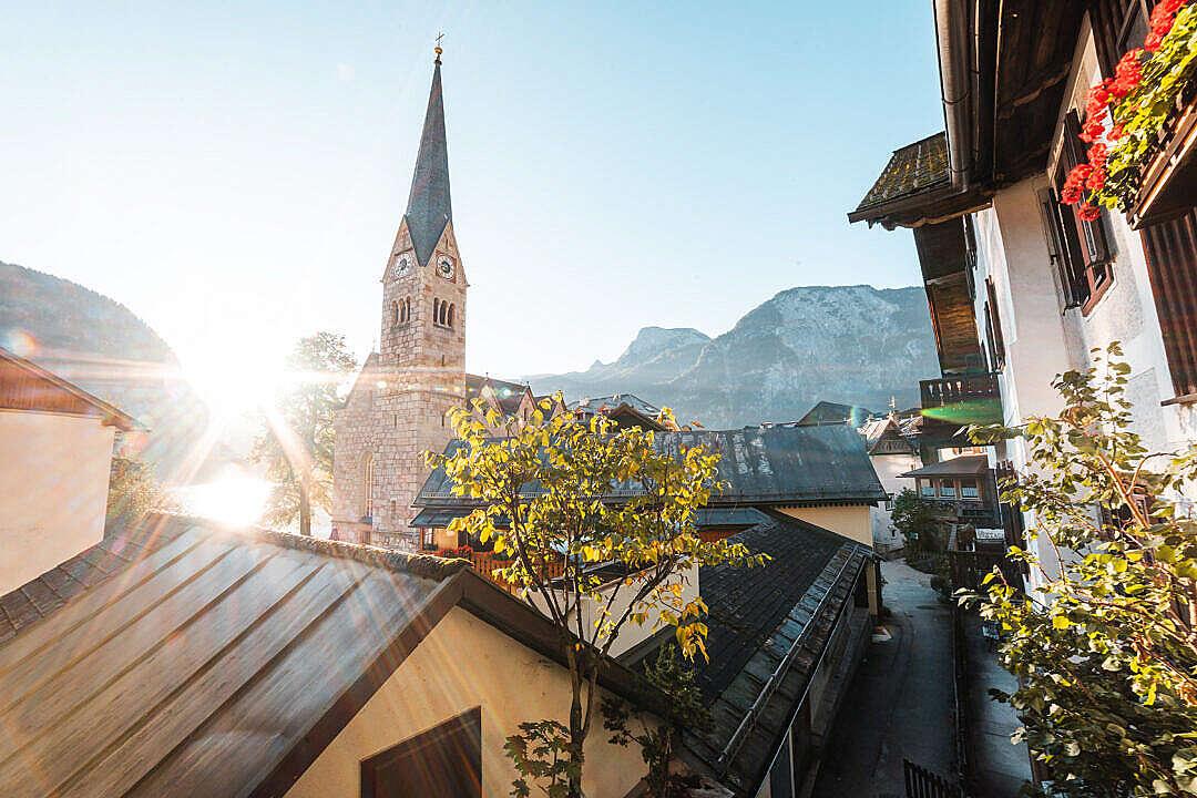 Download Streets of Hallstatt During Sunrise FREE Stock Photo