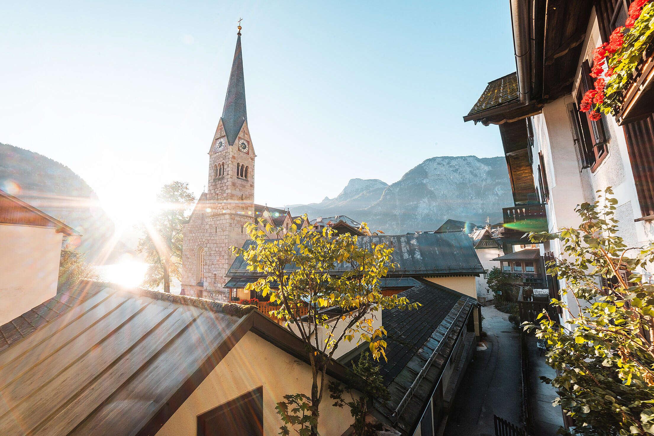 Streets of Hallstatt During Sunrise Free Stock Photo