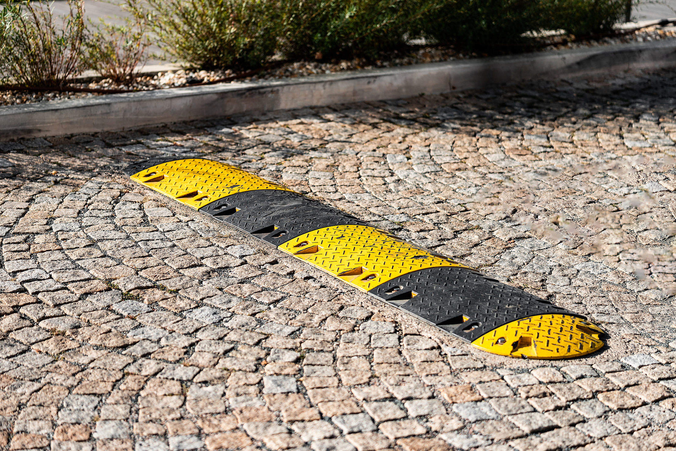 Download Striped Speed Bump Free Stock Photo