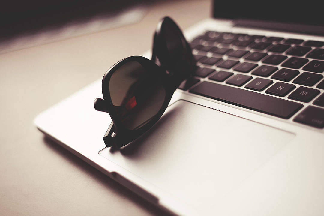 Download Style Sunglasses with MacBook FREE Stock Photo