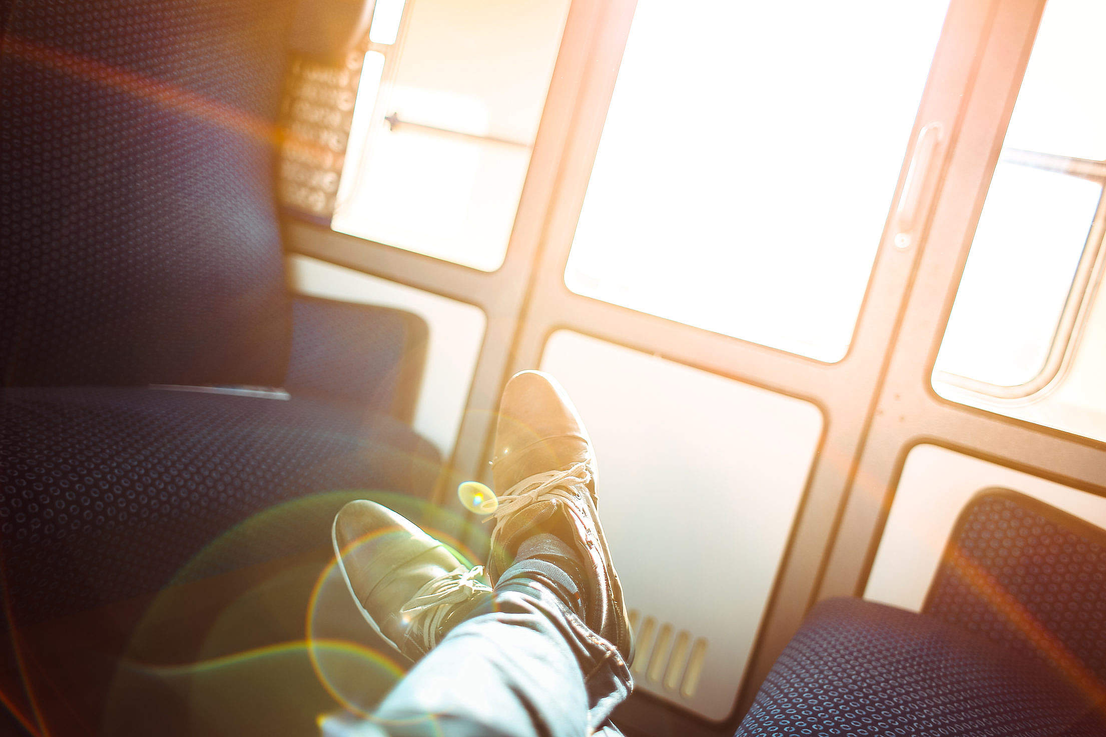 Sunny Traveling by Train Free Stock Photo