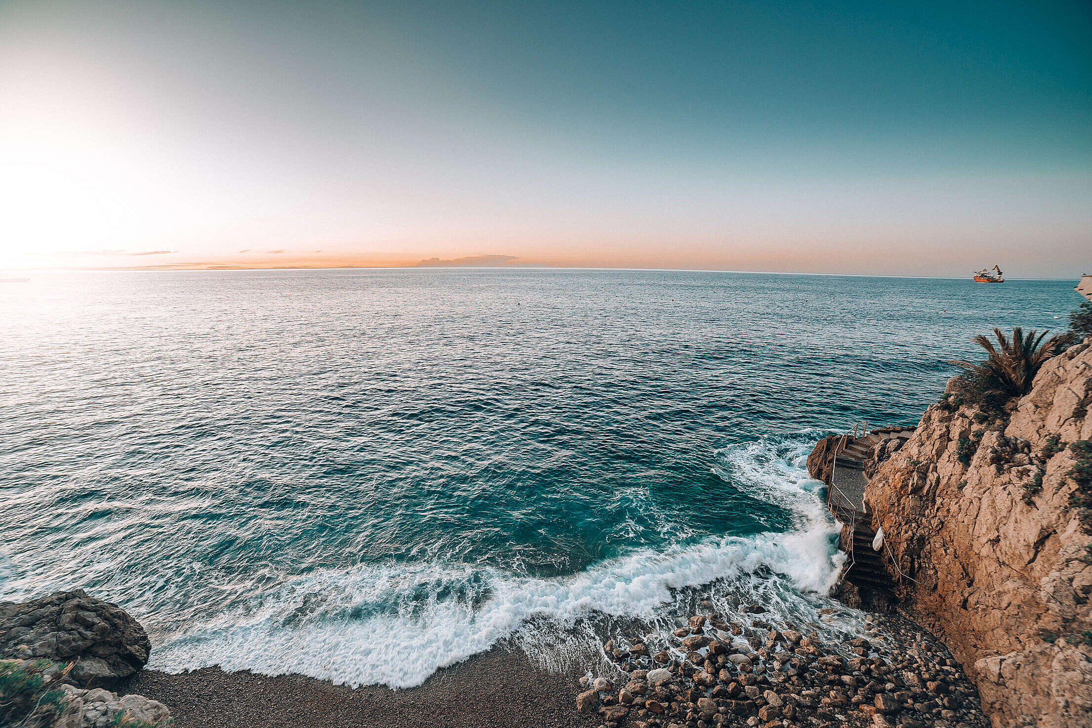 Sunrise over The Sea in Monaco Free Stock Photo