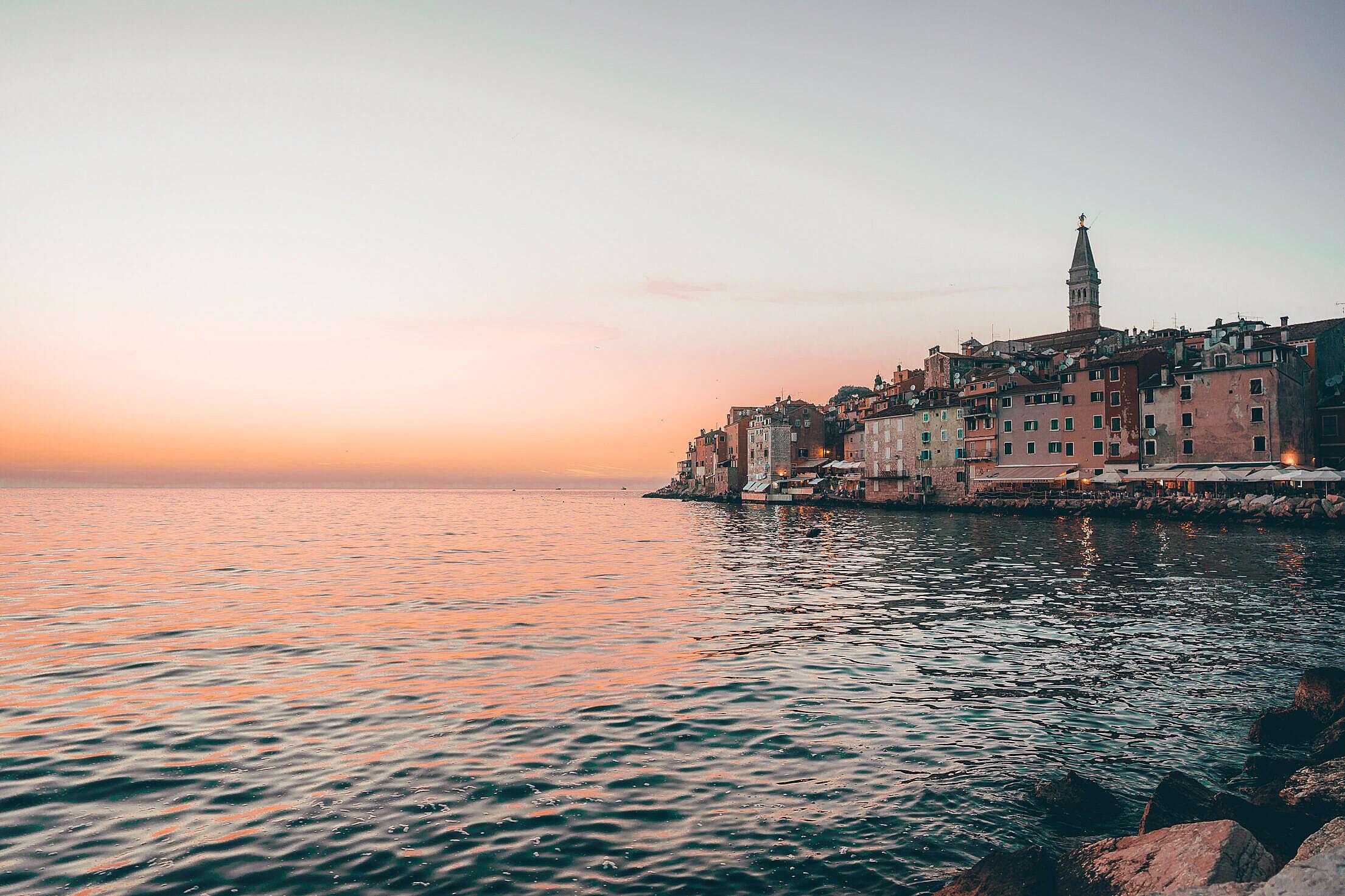 Sunset in Rovinj, Croatia Free Stock Photo