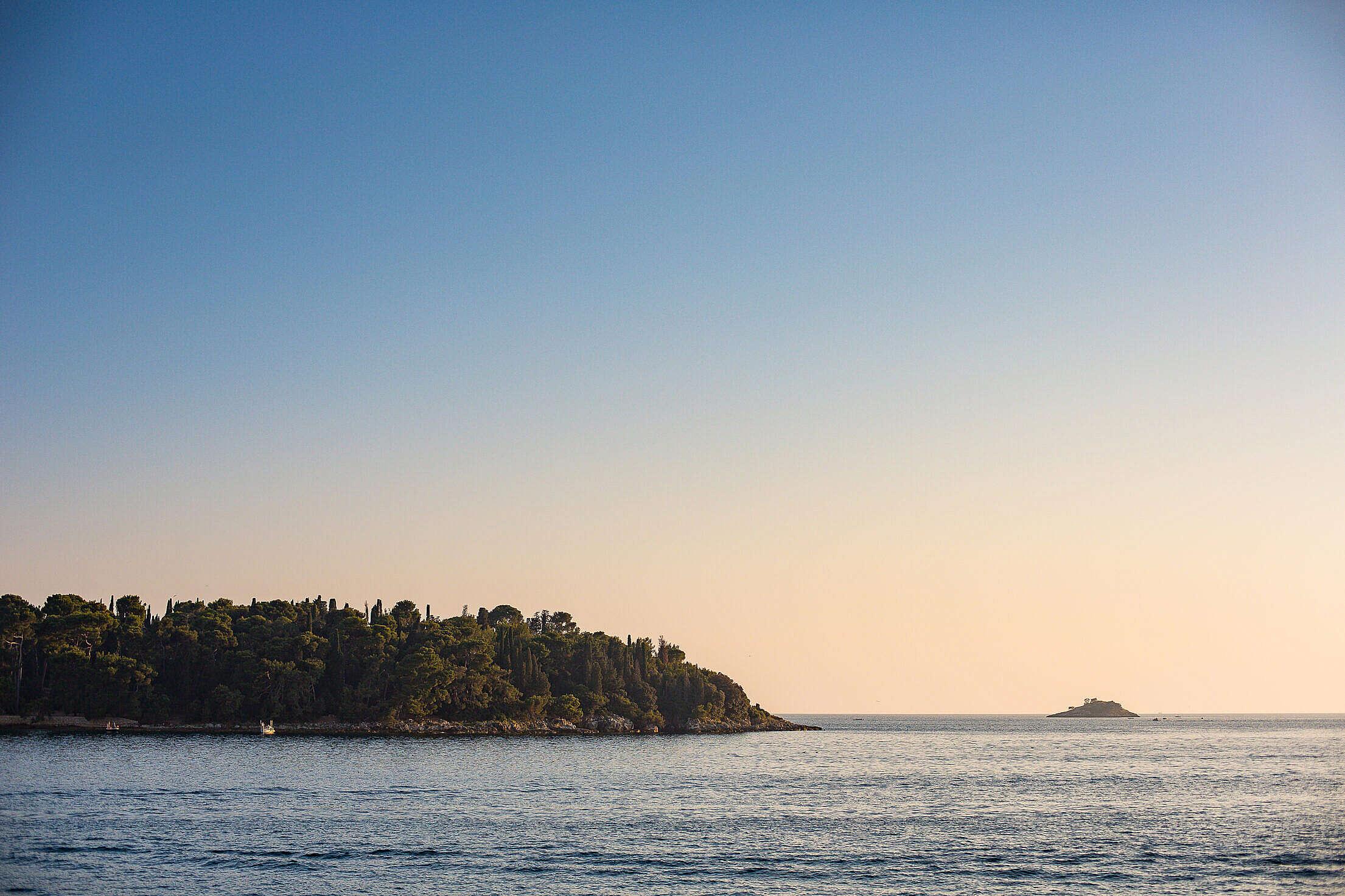 Sunset over a Small Island in Croatia Free Stock Photo