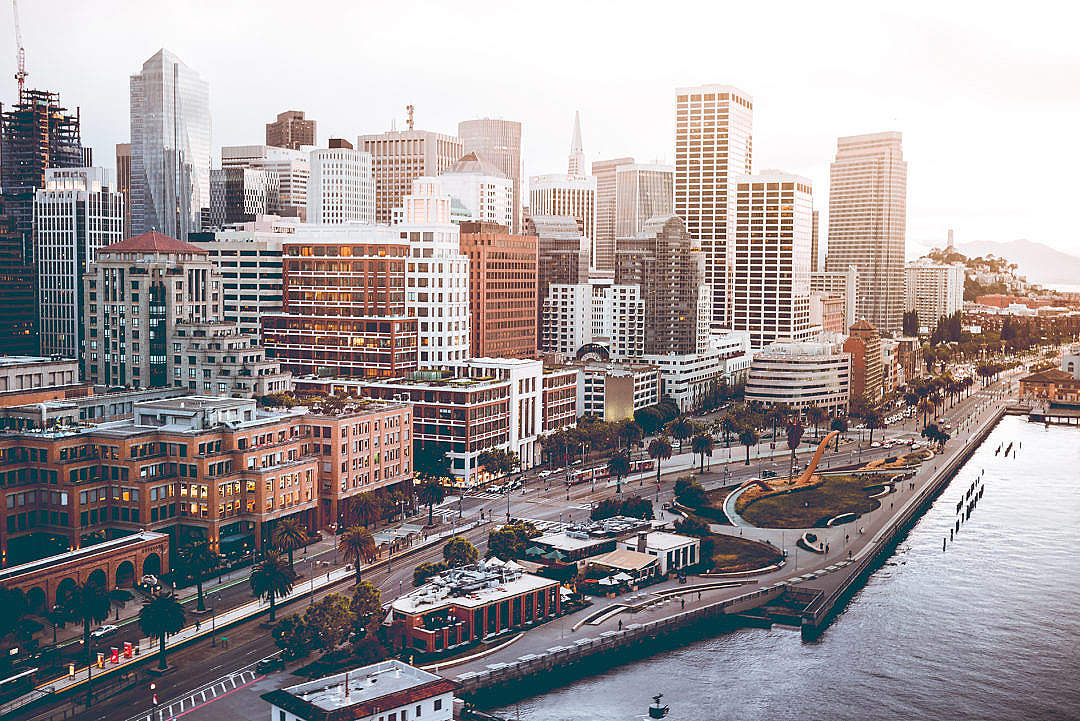 Download Sunset Over San Francisco Financial District FREE Stock Photo