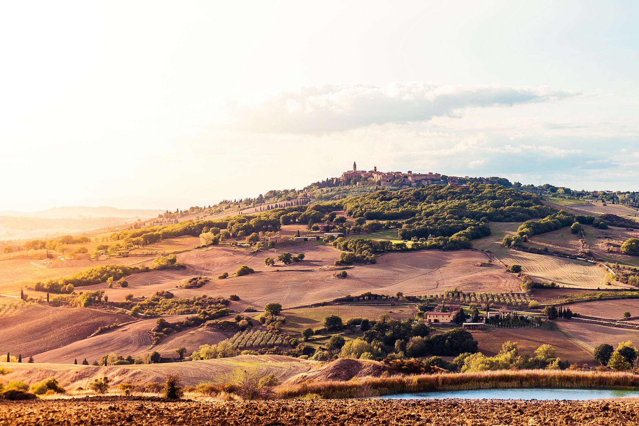 Sunset Over the Pienza Town in Tuscany (Val d'Orcia), Italy Free Stock Photo