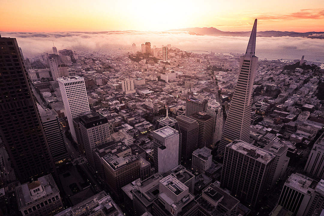 Download Sunset Over The San Francisco Aerial Shot FREE Stock Photo