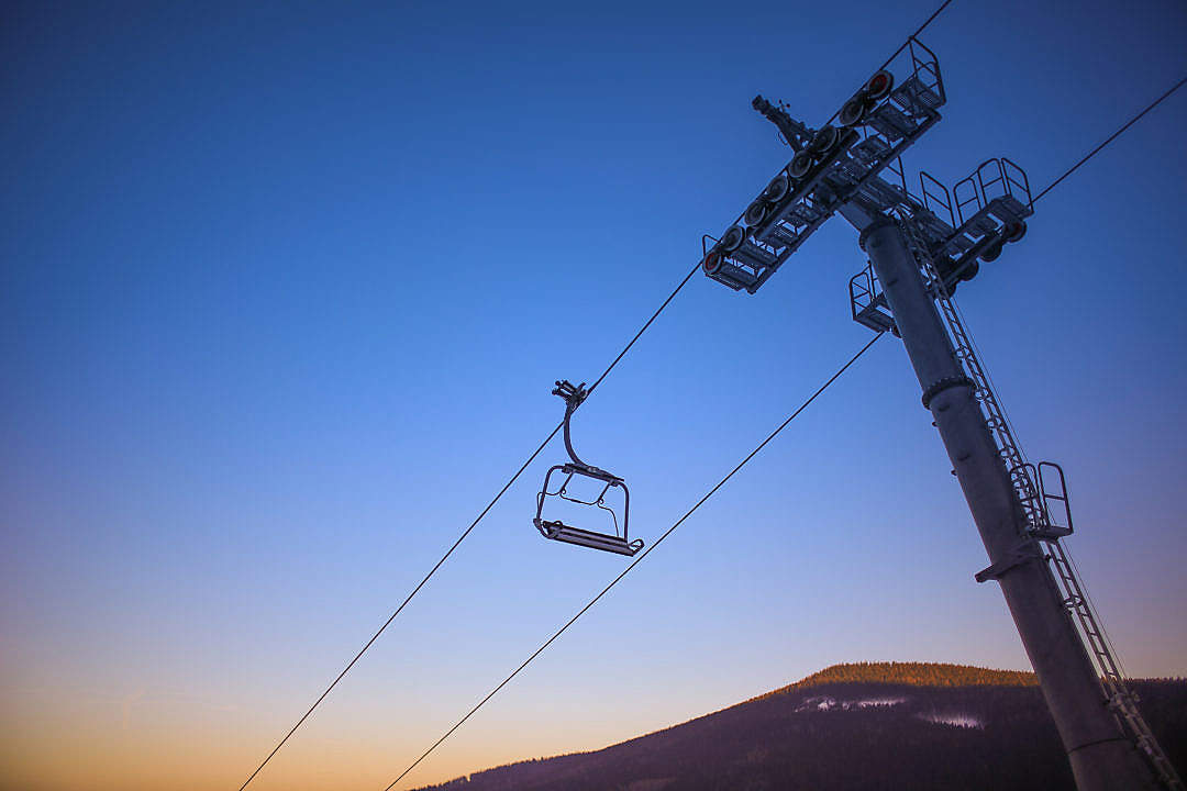 Download Sunset Ski Lift FREE Stock Photo
