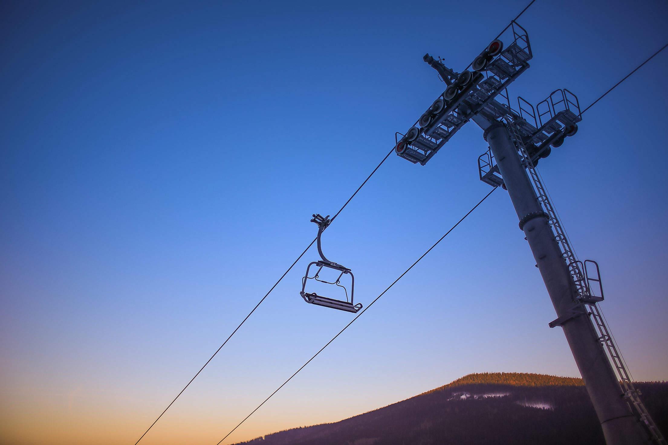 Sunset Ski Lift Free Stock Photo