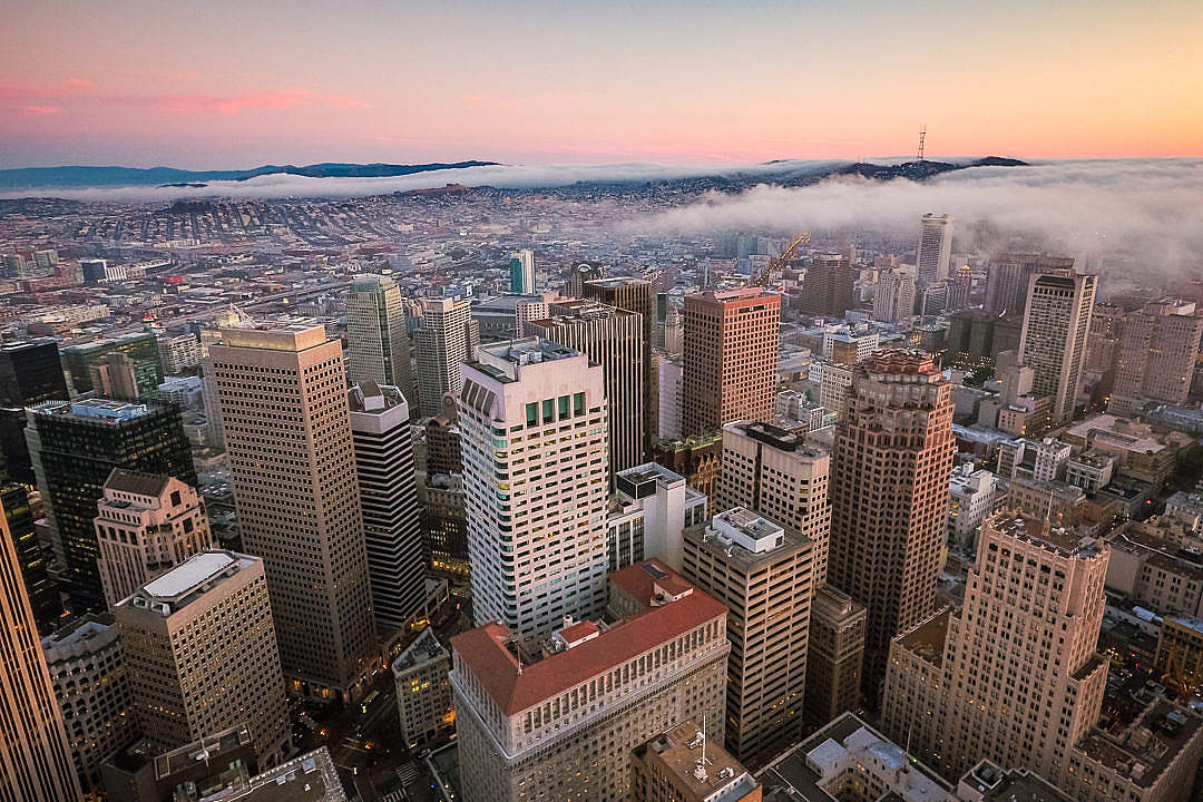 Download Sunset View Over San Francisco Skyscrapers in Financial District FREE Stock Photo