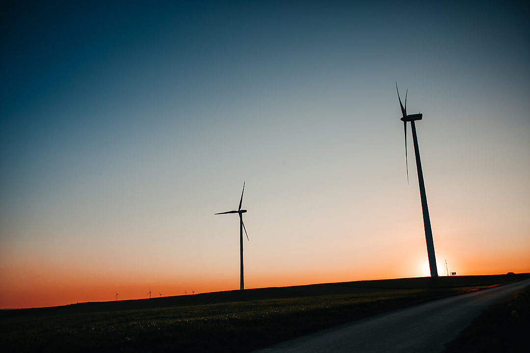 Download Sunset Windmills FREE Stock Photo
