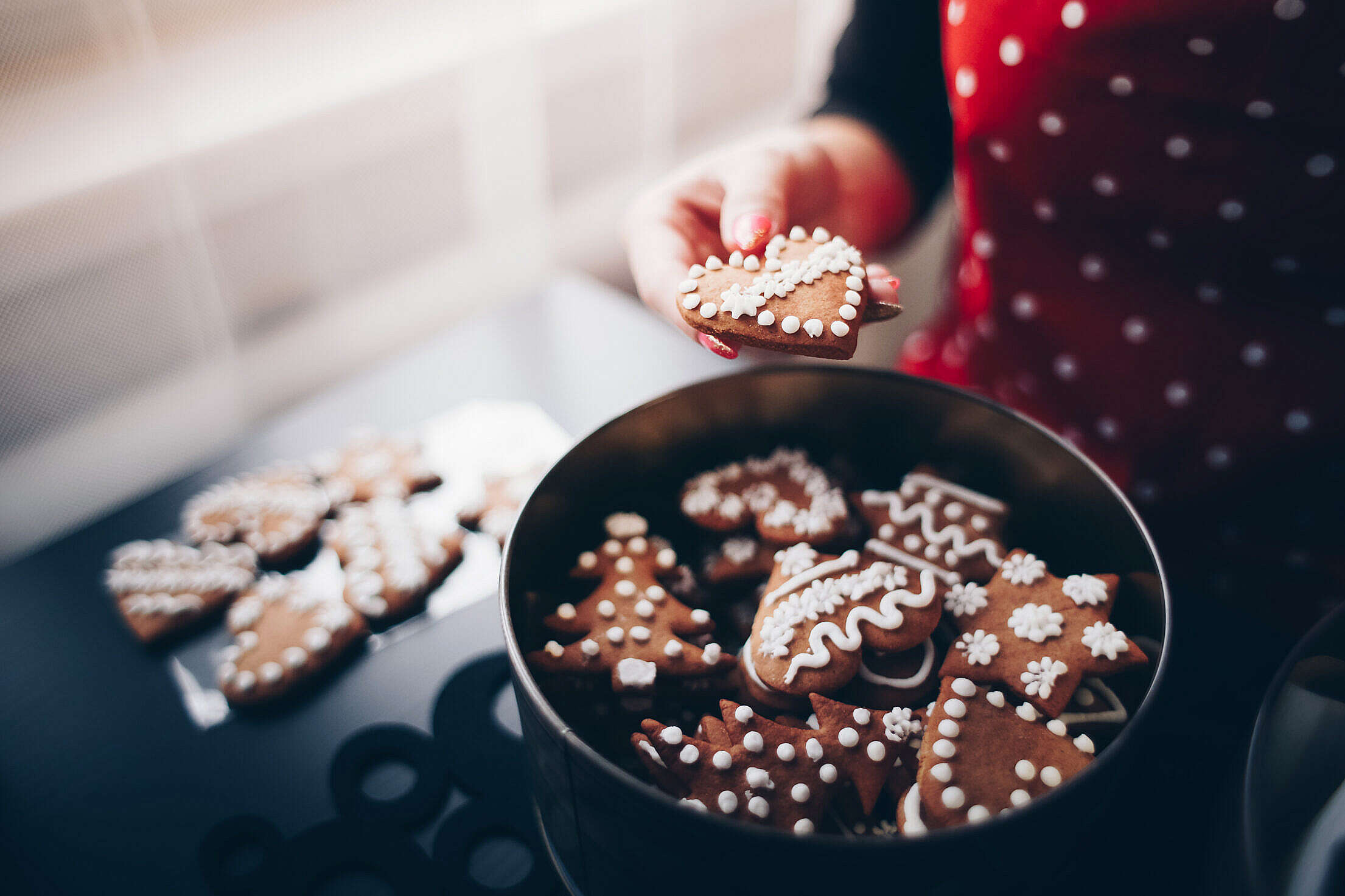 Sweet Christmas Gingerbread Cookies Free Stock Photo