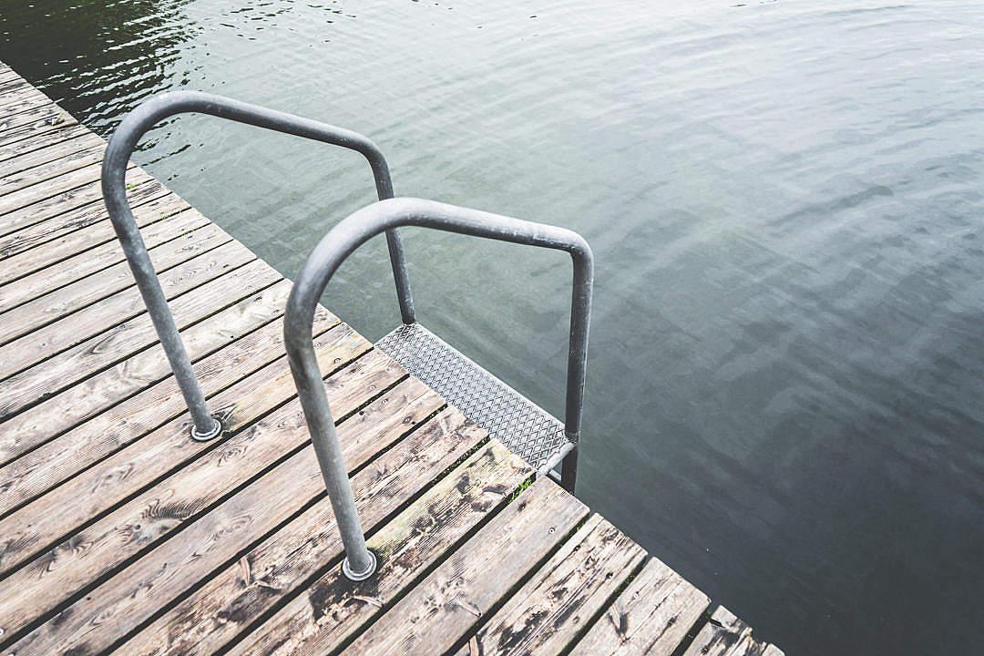 Download Swimming Pontoon with Ladder At Lake FREE Stock Photo