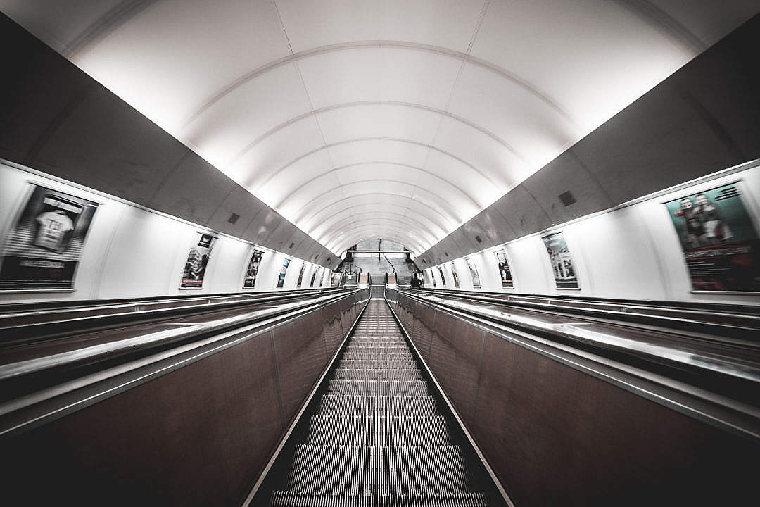 Download Symmetric Public Transport Network Underground Escalator FREE Stock Photo