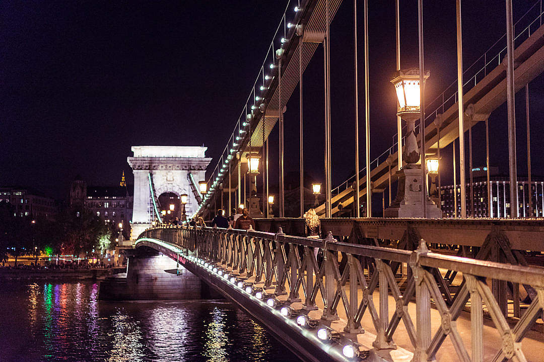 Download Széchenyi Chain Bridge in Budapest at Night FREE Stock Photo