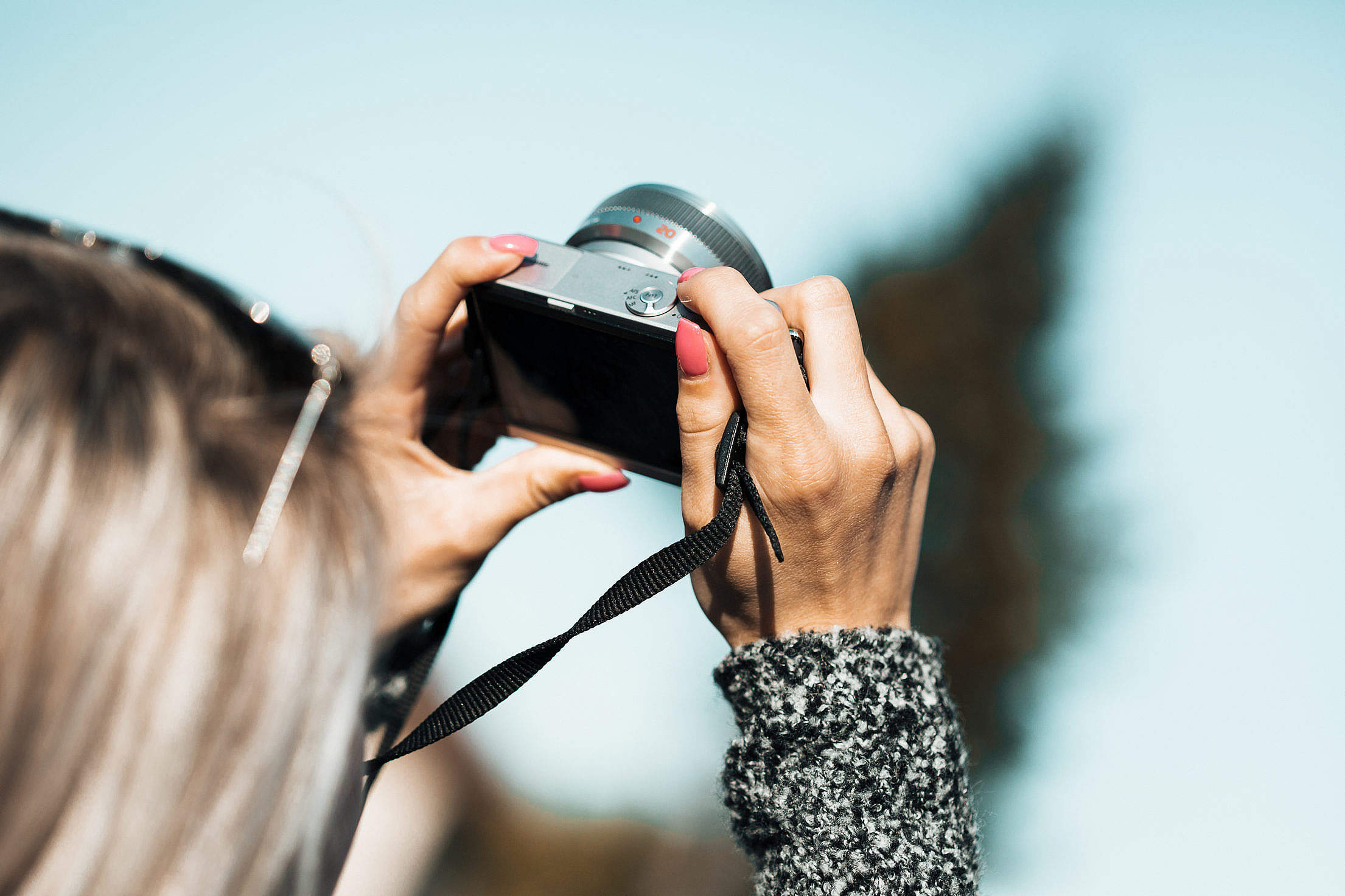 (click to download) Taking a Photo with Small Mirrorless Camera #2 FREE Stock Photo
