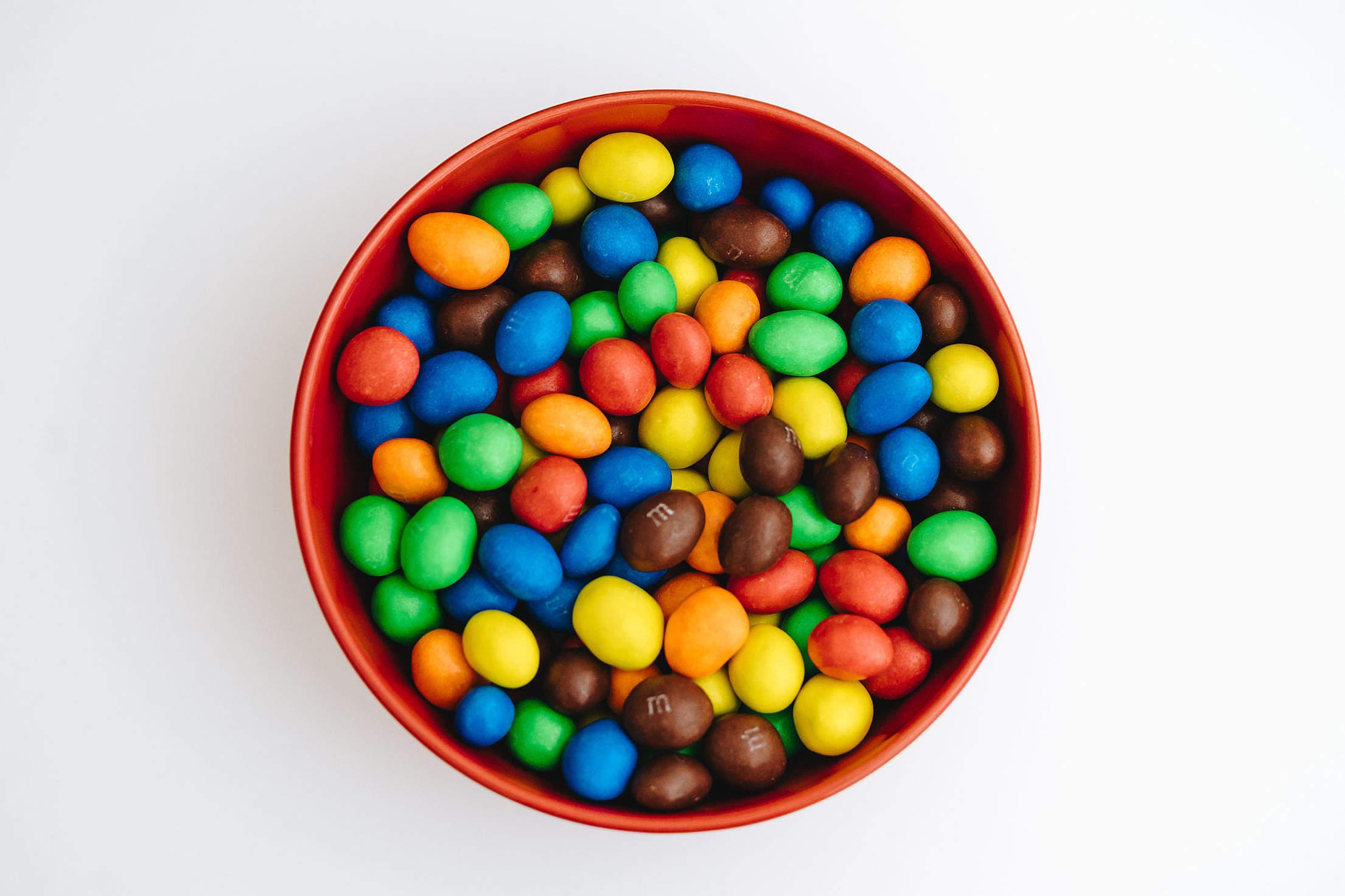 Tasty M&M's Peanut Chocolates in a Bowl Free Stock Photo