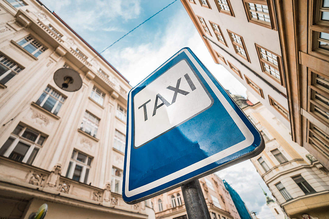Download TAXI City Road Sign FREE Stock Photo