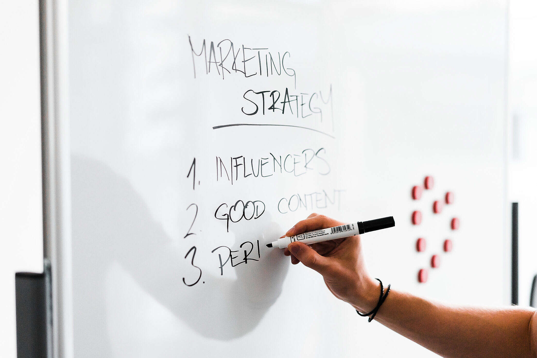 Team Leader Writing on White Board Free Stock Photo