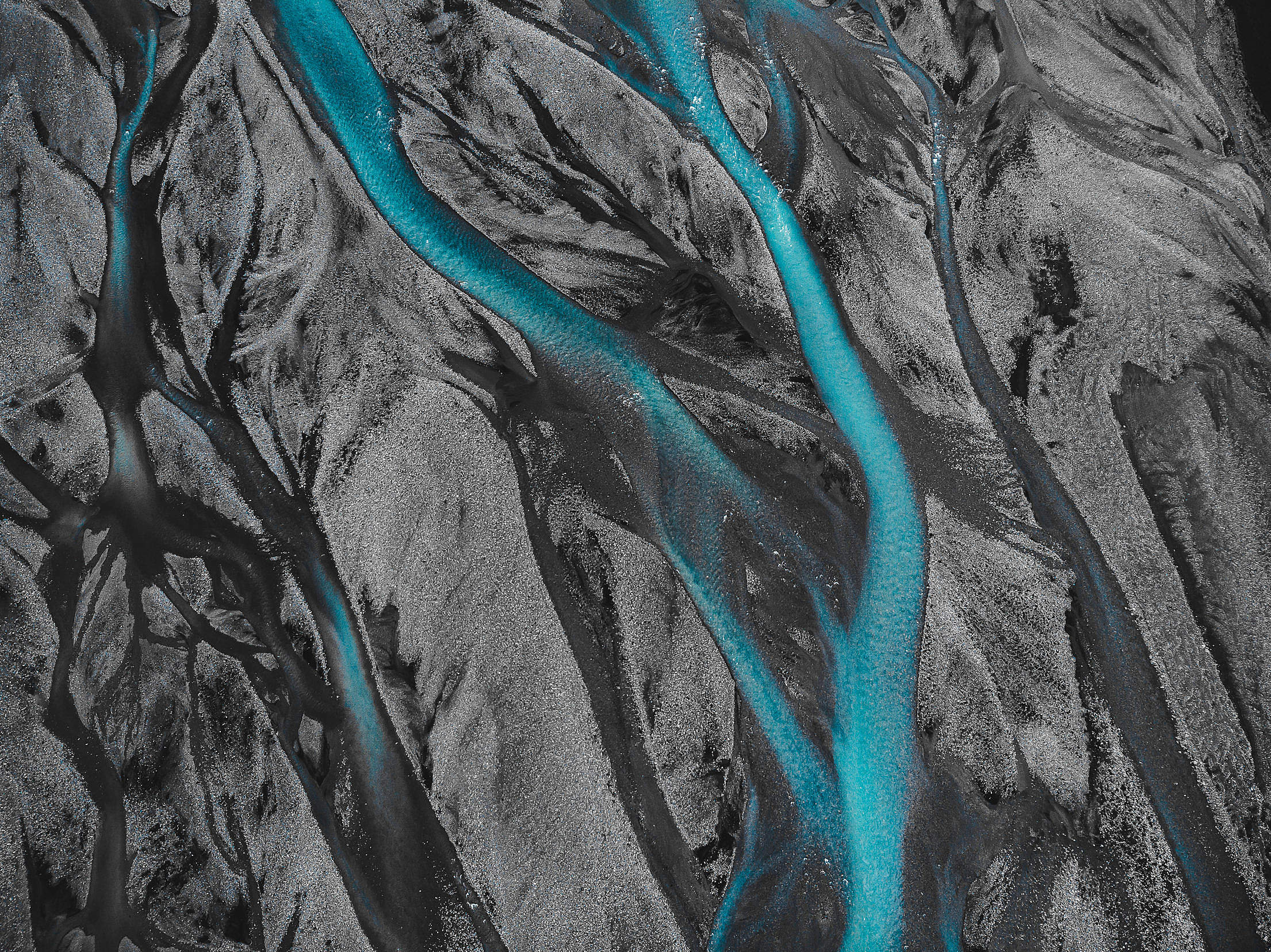 Texture of an Icelandic River in a Black Sand Free Stock Photo